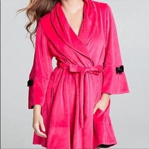 Betsey Johnson velour and satin robe